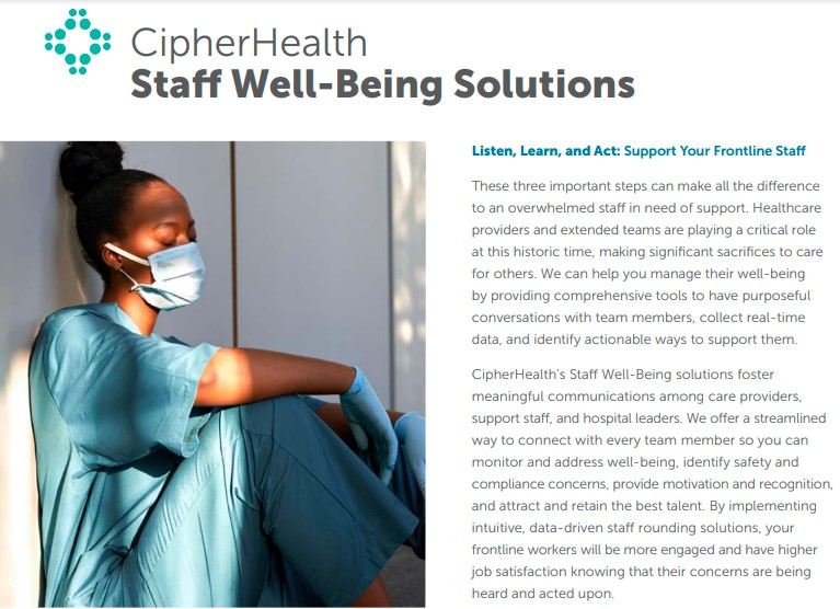 CipherHealth Puts New Focus on Curbing Burnout and Improving Mental Health Among Exhausted Healthcare Workers